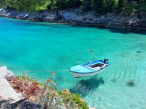 Boat on the bright, clear, blue sea. Beautiful view of Adriatic sea bay with boat on the sea. Photo taken on: July 2016 Stock Photography