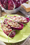 Boat of brown rice with red radicchio and speck Stock Photography