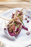 Boat of brown rice with red radicchio and speck Royalty Free Stock Images
