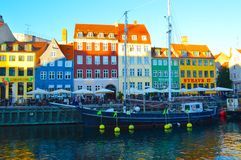 Boat and Buildings along Nyhavn Canal Stock Images