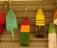 Boat bumpers. A picture of boat bumpers hanging on a wall Royalty Free Stock Photos
