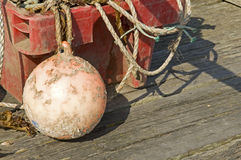 Boat buoy with rope in container Stock Photos