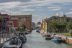By boat from Burano to the mainland Stock Photos