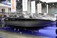 Boat Buster Super Magnum in the exhibition Crocus Expo in Moscow. MOSCOW - MARCH 09, 2017:  Boat Buster Super Magnum for 10 International boat show in Moscow Royalty Free Stock Photos