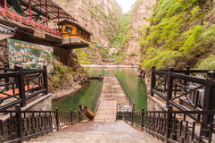 Boat,cable car in Long Qing Xia. While travel along the Long Qing Xia on 24 May 2013 Stock Image