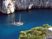 Boat in the calanques of Marseille. A boat in the Calanques of Marseille in France Stock Photos