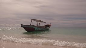 Boat  on calm sea tropical island. Boat on calm sea tropical island on Sumatra with small waves stock video