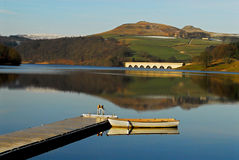 Boat on Calm Water on Ladybower Dam, Derbyshire Stock Image