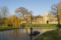 Boat in Cam river, Cambridge Royalty Free Stock Images