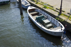 Boat at the canal, Amsterdam Stock Photo