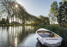 Boat in canal du Midi. Boat in Écluse de Tréboul, canal du Midi, near Castelnaurady Royalty Free Stock Photos