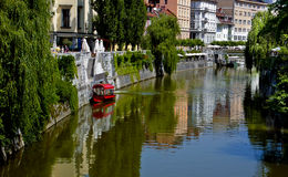 Boat on Canal, Ljubljana, Slovenia Royalty Free Stock Images