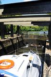 Boat in Canal lock, Stratford-upon-Avon. Stock Image