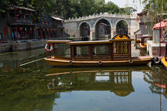 Boat on the Canal, Summer Palace, Beijing. Shopping plaza for the imperial household and guests Stock Photos