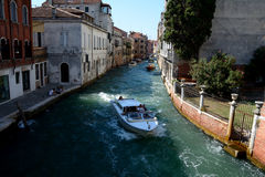 Boat on canal in Venice, Italy Royalty Free Stock Photo