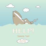Boat capsized background. Illustration Royalty Free Stock Images