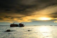 Boat capsized Stock Image