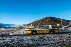 Boat-car in Jokulsarlon lagoon, Iceland Royalty Free Stock Photography