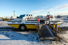 Boat-car in Jokulsarlon lagoon, Iceland Stock Photos