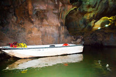 The boat in a cave Stock Image