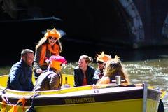 Boat celebrating in King's Day Stock Photography
