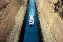 Boat in the channel. Boat in famous Corinth Canal stock images