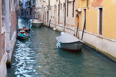 Boat in channel of Venice Royalty Free Stock Images