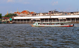 Boat on Chao Phraya river in Bangkok Stock Photo