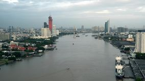 Boat in Chao Phraya River, Bangkok City, Thailand.  stock video