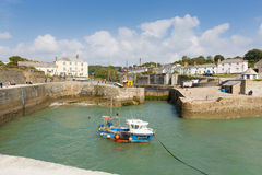 Boat in Charlestown harbour near St Austell Cornwall England UK in summer Stock Image