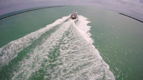 Boat chase Miami Beach stock video