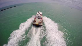 Boat chase Miami Beach stock footage