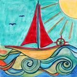 Boat for children room. Original drawing. Stock Image