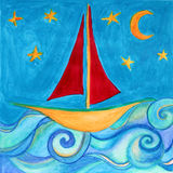 Boat for children room. Original drawing. Royalty Free Stock Photo
