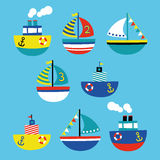 Boat children style illustration set. Boat children style vector illustration set Stock Photos
