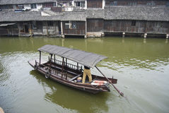 Boat in China. Chinese boat in a water village, central China stock images