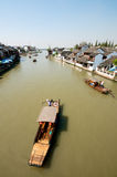 Boat on Chinese Ancient Town Royalty Free Stock Photos