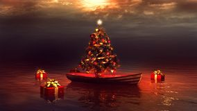 Boat and christmas tree. Christmas scenery with boat and christmas tree Stock Photo
