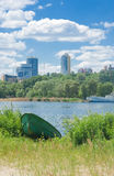 Boat and city. Royalty Free Stock Image