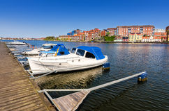 Boat city harbor Royalty Free Stock Image