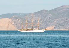 White yacht. Luxury, old, white boat in the classical style Stock Image