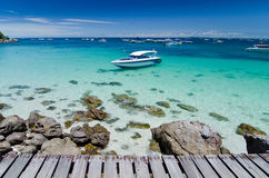 Boat in clear sea Royalty Free Stock Photos