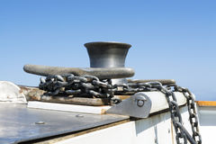 Boat cleat and chain Royalty Free Stock Photos