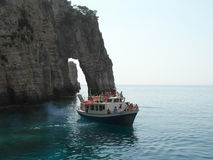 Boat and cliff in Zakynthos island.Greece Royalty Free Stock Photography