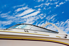 Boat with clipping path. Boat with a cloudy blue sky in the background. This image contains a clipping path Stock Images