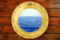 Boat Closed Porthole With Vacation Seascape View Stock Image