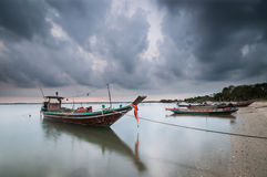 Boat and clouds overcast Royalty Free Stock Photography