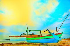 Boat on the coast. Boats that are often used by fisherman stock photography