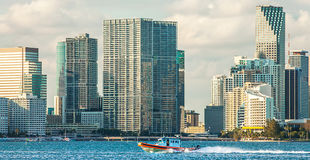Boat of the Coast Guard in front of the skyline of Miami. Florida USA Stock Photography