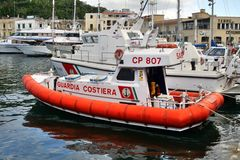 Boat of the coast guard, port of ischia, italy Stock Images